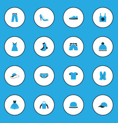 garment colorful icons set collection of panama vector image