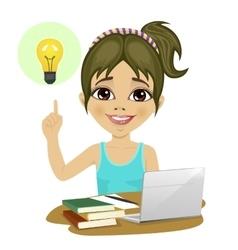 Girl doing her homework with laptop having idea vector