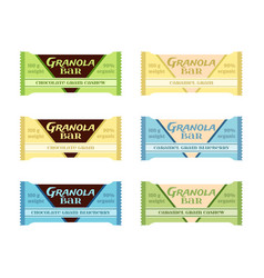 granola bars chocolate caramel with grain berries vector image