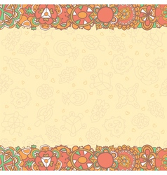 Hand drawn abstract flowers background with empty vector image