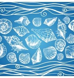 Hand drawn pattern with various seashells vector