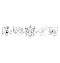 Hand drawn set with various esoteric symbols vector