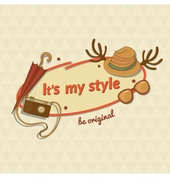 Hipster woman stylish label with contemporary vector image