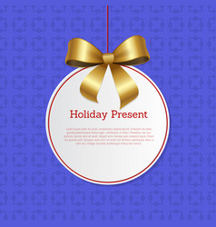 Holiday present hanging knit label with tag place vector