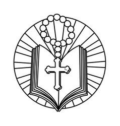 Holy bible with rosary vector