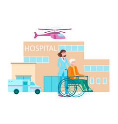 hospital lettering caring doctor virus treatment vector image