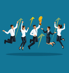 isometrics of businessmen are happy and jumping vector image