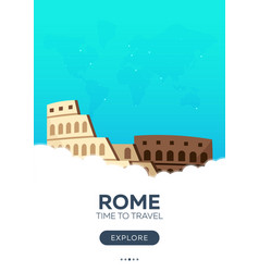 italy rome time to travel travel poster vector image