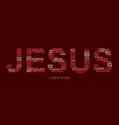 jesus with bible words genesis to revelation vector image
