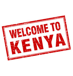 kenya red square grunge welcome isolated stamp vector image