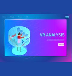 man wearing vr glasses interacting virtual reality vector image