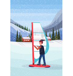 Man windboarding windsurfing on snow over small vector