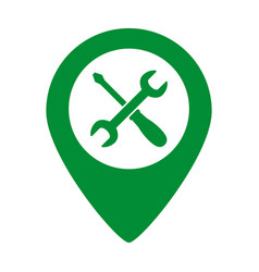 map pointer with service icon on white background vector image