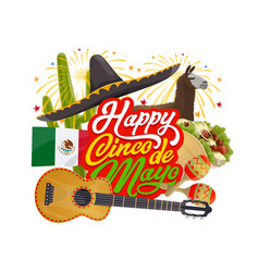 Mexican sombrero and guitar cinco de mayo holiday vector