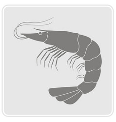 Monochrome icon with prawn vector