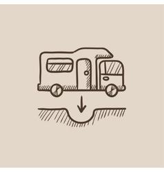 Motorhome and sump sketch icon vector