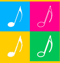 music note sign four styles of icon on four color vector image