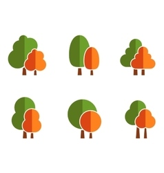 Nature icons set with tree vector