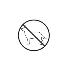 No dog line iconprohibited sign graphics vector