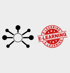node links icon and scratched e-learning vector image
