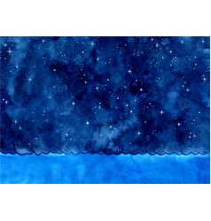 ocean wave and night sky among star watercolor vector image