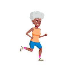 Old african woman jogging on park track cartoon vector
