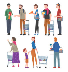 People with shopping carts and baskets set men vector