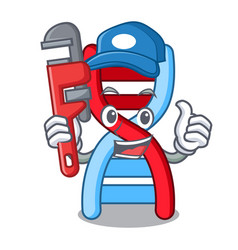 Plumber dna molecule mascot cartoon vector