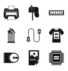 printout icons set simple style vector image