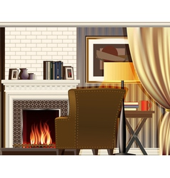 Room with fireplace vector