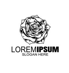 Rose logo design template minimal petal beauty vector