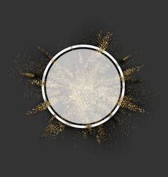 Round background with golden glitter explosion vector