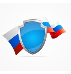 Russia Flag and Shield vector image vector image