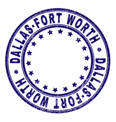 Scratched textured dallas-fort worth round stamp vector