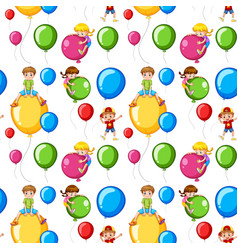 seamless template kids on colorful balloons vector image