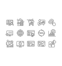 seo line icons increase sales business strategy vector image