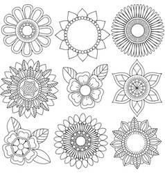 Set of different colors and floral patterns vector