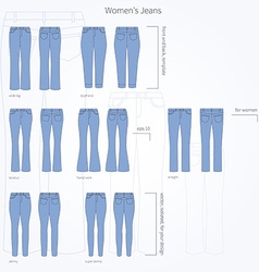 Set of jeans vector
