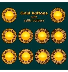 set ten golden celtic knotwork buttons vector image