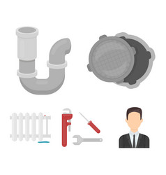 sewage hatch tool radiatorplumbing set vector image