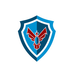 shield eagle power guard protection logo icon vector image