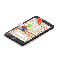 smartphone logistic mobile delivery tracking app vector image