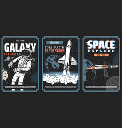 space and galaxy explore program posters vector image