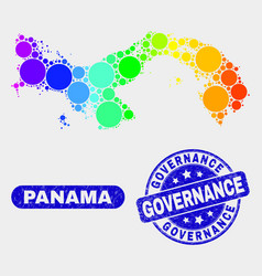 Spectral mosaic panama map and distress governance vector