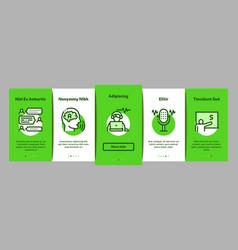 Speech therapist help onboarding elements icons vector