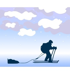 Sportsman the skier goes on a grief background vector