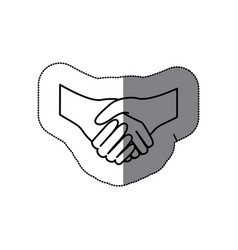 Sticker silhouette handshake agreement icon flat vector