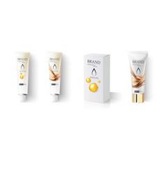 Sunblock bottle lotion cream tube mockup vector
