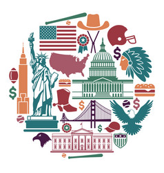 symbols of the usa in the form of a circle vector image vector image
