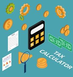 tax calculator isometric vector image